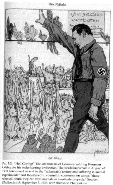 Cartoon showing animals giving Goering a Nazi salute